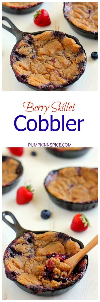 This Berry Skillet Cobbler contains fresh strawberries and juicy blueberries that are combined with a hint of sweetness and baked with a brown sugar topping. It's easy to prepare and is bursting with fresh flavors!