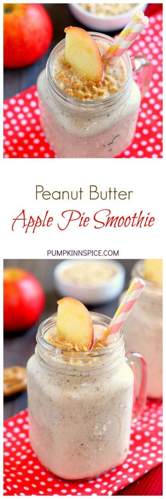 This Peanut Butter Apple Pie Smoothie is creamy, packed with apples, and has a subtle hint of cinnamon and peanut butter. The oats give this drink a thicker, pie-like texture, while the yogurt and spices give it the perfect touch of sweetness. If you love apple pie, then this smoothie was made for you!