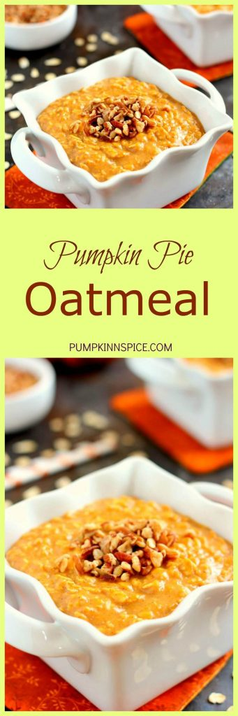 Packed with hearty oats, creamy pumpkin, and spices, this dish makes the perfect breakfast for those cool, fall mornings. The cozy flavors blend together to taste like your favorite pie, in oatmeal form!