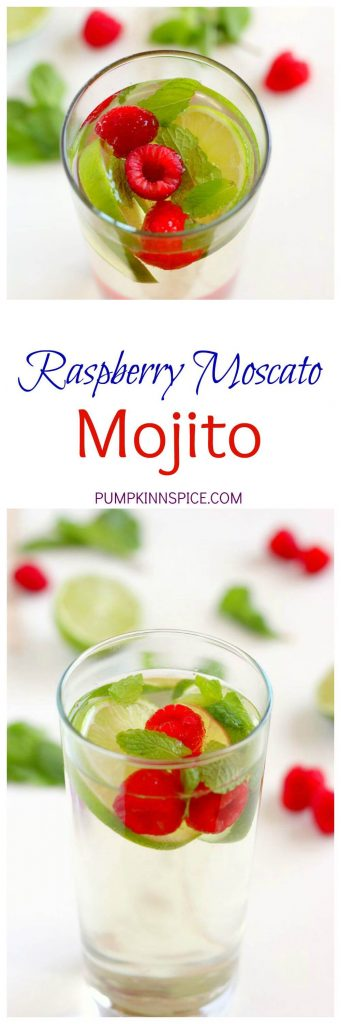 This Raspberry Moscato Mojito is filled with sweet Moscato, fresh raspberries, mint, and a touch of sweetness. This drink provides a unique twist on a classic favorite, with no rum needed!