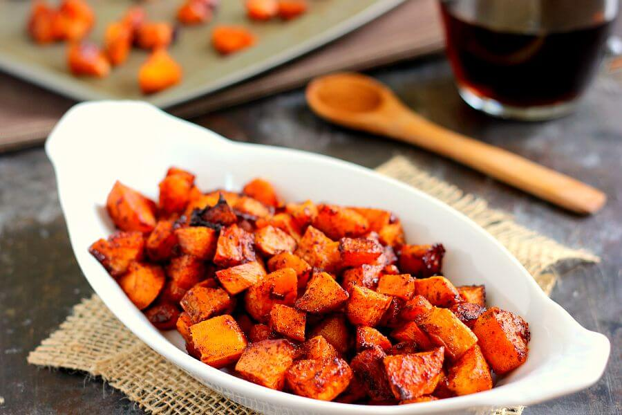 Roasted Maple Cinnamon Sweet Potatoes Pumpkin N Spice