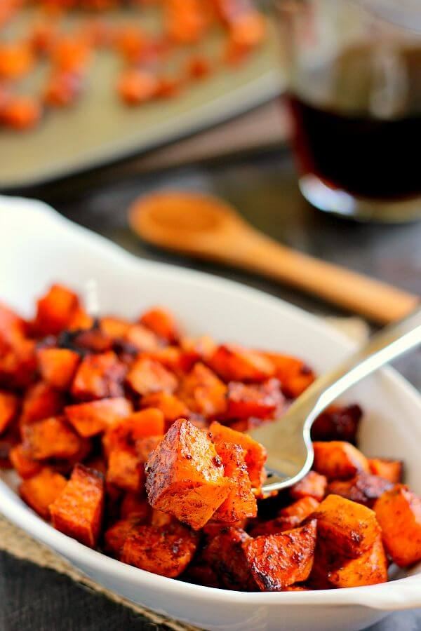These Roasted Maple Cinnamon Sweet Potatoes are seasoned with cozy flavors and roasted to perfection until crispy on the outside and soft on the inside!