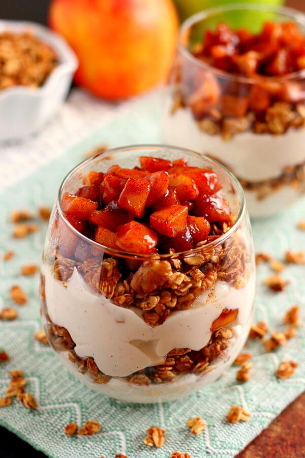 Packed with creamy vanilla yogurt, apple pie granola, and caramelized apples, this Apple Pie Yogurt Parfait is full of protein and fall flavors. It's a great way to spice up your morning breakfast or afternoon snack!