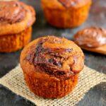 a pumpkin nutella muffin on a piece of burlap