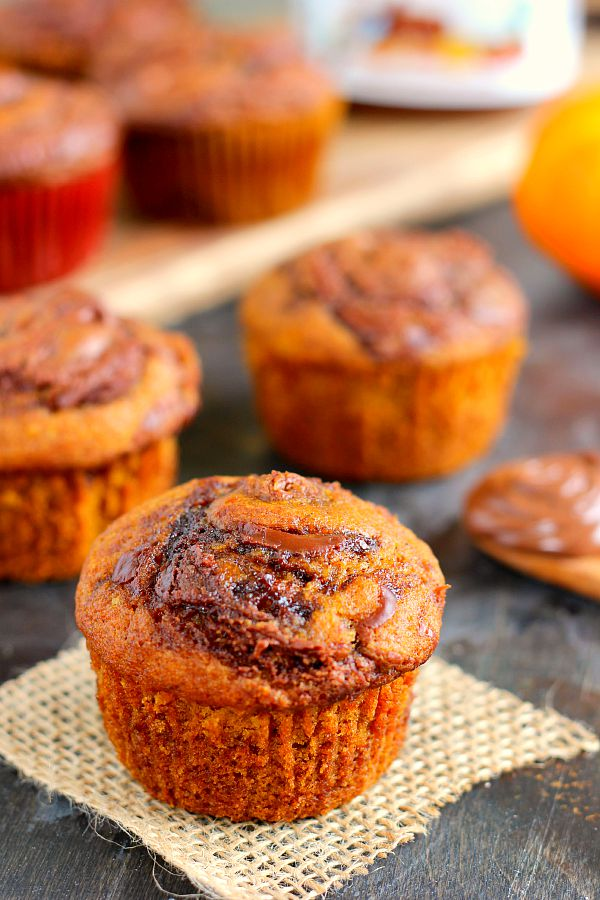 shot of nutella pumpkin muffins