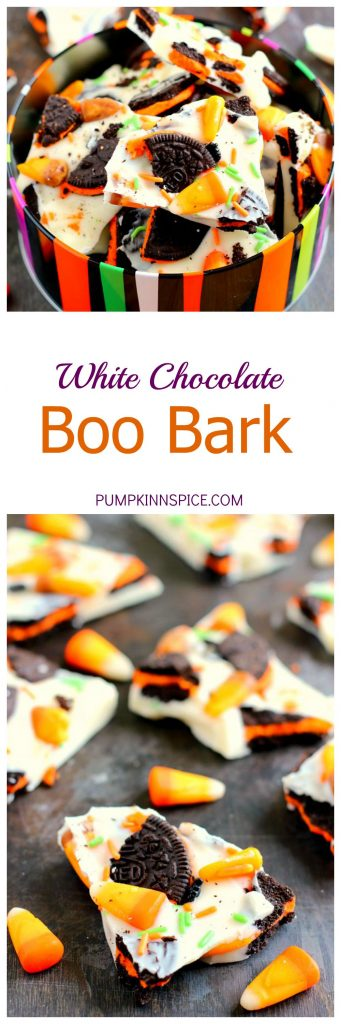 This White Chocolate Boo Bark is is filled with creamy white chocolate, Oreo cookies, and chewy candy corn. It's so easy to make and is the perfect snack to munch on during Halloween!