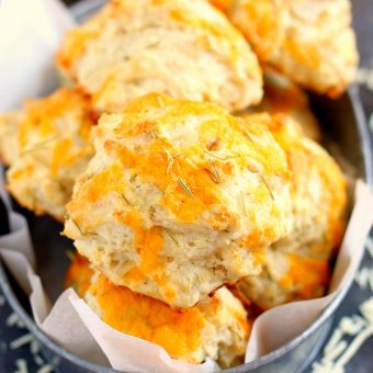 These Cheddar Rosemary Biscuits are soft, flaky, and bursting with flavor. The fresh cheddar cheese and rosemary gives these biscuits the perfect amount of zest. And best of all, it's ready in less than 20 minutes!