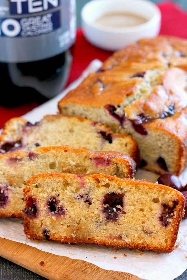 This Cherry Cola Bread is flavored with RC Ten, sweet cherries, and drizzled with a cola glaze. It packs a flavorful punch and is soft, moist, and perfectly sweetened. This bread makes the best holiday treat to share with those around you!