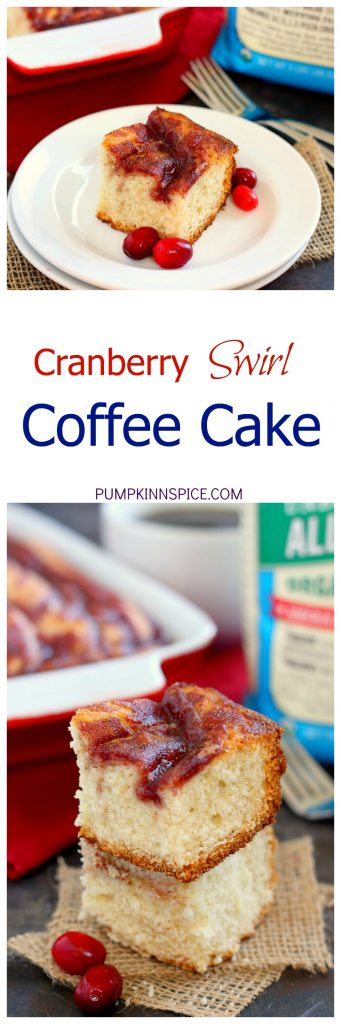 This Cranberry Swirl Coffee Cake is fluffy, moist, and swirled with sweet cranberries. Easy to make and full of flavor, this treat makes the perfect breakfast or dessert for the holiday season!