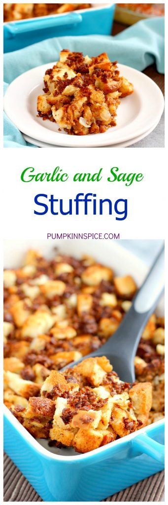 This Garlic and Sage Stuffing is made with MorningStar Farms Grillers Crumbles, freshly toasted bread, and seasoned with spices. It's ready in less than an hour and makes the perfect, easy side dish for Thanksgiving!