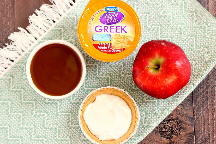 With just a few simple ingredients, these Mini Caramel Apple Yogurt Pies come together in no time and serve as a healthier treat. Filled with Dannon® Greek Yogurt Oikos® Light & Fit® Caramel Apple Pie Yogurt, fresh apple chunks, and a cinnamon swirl, these pies make the perfect fall dessert!