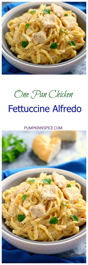 This One Pan Chicken Fettuccine Alfredo is filled with tender chicken and fresh pasta that's tossed in a lightened, creamy sauce. It's made in one pan and ready in just 30 minutes!