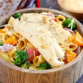Tilapia with Roasted Vegetable Pasta