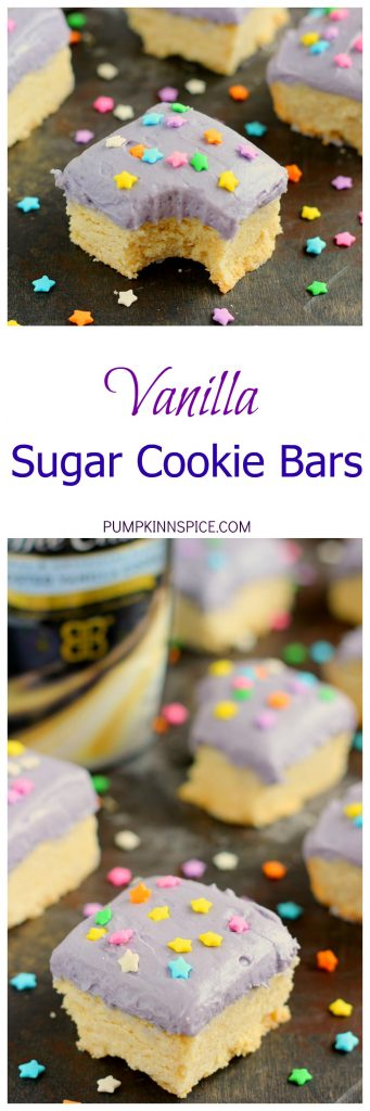 These Vanilla Sugar Cookie Bars are soft, chewy, and loaded with the classic flavor of sugar cookies, but require no chilling or rolling out the dough. The addition of BAILEYS™ Coffee Creamer Frosted Vanilla Cookie in the bars and frosting gives the treats a deliciously sweet taste that comes together in minutes!