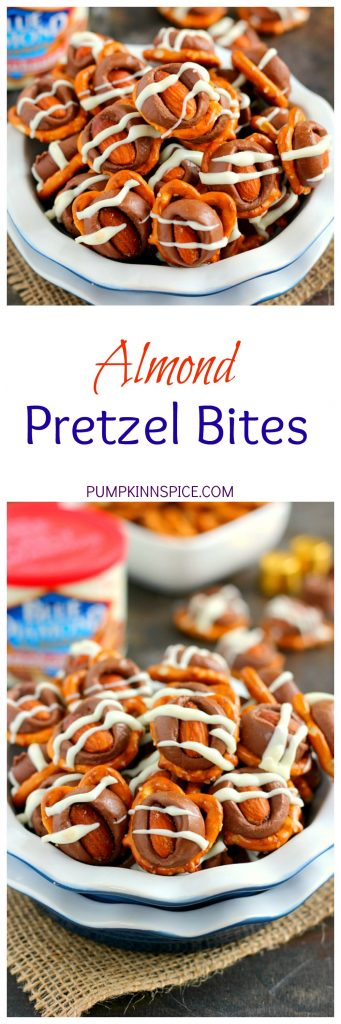 These Almond Pretzel Bites are filled with crunchy pretzels, Smokehouse Almonds, caramel candies, and drizzled with white chocolate. They're ready in minutes and make the perfect game day snack for when you crave a sweet and salty treat!