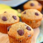 These Banana Chocolate Chip Muffins are jam-packed with sweet bananas and dark chocolate chips. The Greek yogurt keeps these muffins on the lighter side, while packing a punch of protein, which makes these muffins soft, moist, and flavorful!