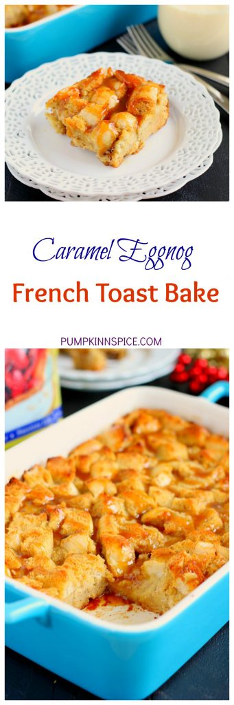 This Caramel Eggnog French Toast Bake is the perfect, make-ahead holiday breakfast. Filled with fluffy bread that is soaked in a mixture of eggnog and spices, this french toast bakes up warm and golden, while bursting with cozy flavors!