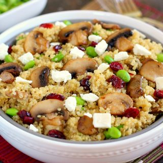 Cranberry, Edamame and Mushroom Quinoa Bowl