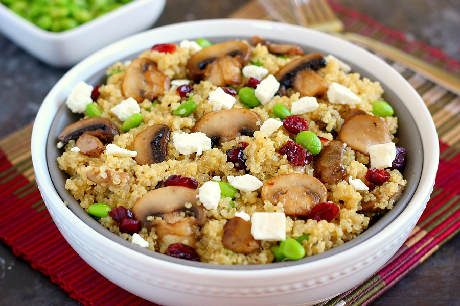 This Cranberry, Edamame and Mushroom Quinoa Bowl is packed with nutritious ingredients to make a healthy and satisfying meal. The tart cranberries, steamed edamame, mushrooms and feta make a delicious dish that easy to prepare and ready in no time!