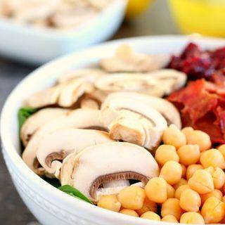 Cranberry Mushroom Spinach Salad with Lemon Basil Vinaigrette
