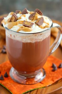 peanut butter hot chocolate in a cup