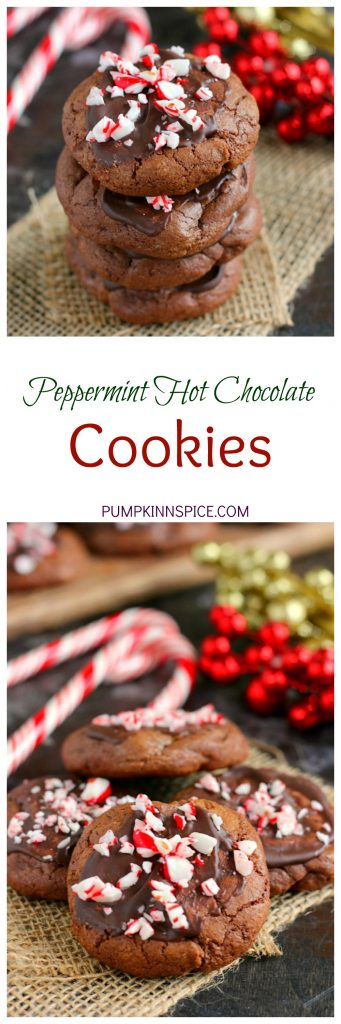 These Peppermint Hot Chocolate Cookies bake up soft, thick and taste just like hot chocolate. The tops are frosted with mint chocolate and then topped with crushed candy canes. These cookies are perfect to enjoy all season long!