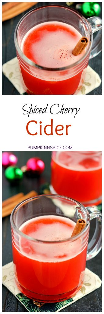This Spiced Cherry Cider is filled with sweet apple cider and spiced with cinnamon and cherry gelatin. It's simmered until the flavors are blended together and makes the perfect drink for when you need a little warming up!