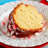 Vanilla Pound Cake with Peppermint Glaze