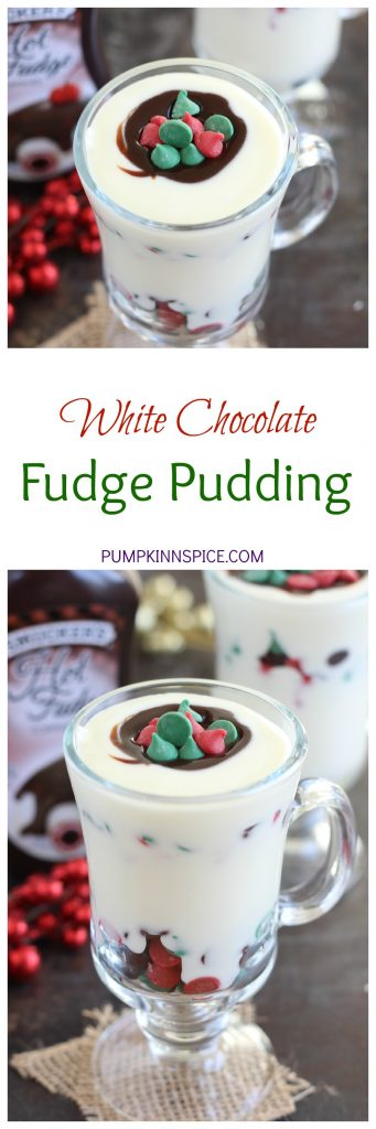 This White Chocolate Fudge Pudding is creamy, rich, and bursting with flavor. White chocolate pudding is layered with hot fudge and festive chocolate chips. It's easy to make and so much better than the store-bought kind. If you're looking for a new dessert for the holiday season, then this pudding is guaranteed to be a favorite!