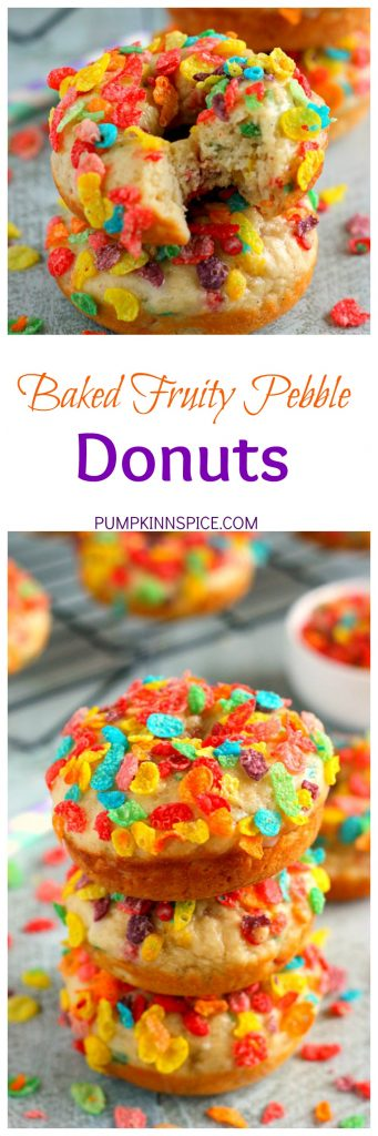 These Baked Fruity Pebble Donuts feature a fluffy vanilla batter, packed with sweet Fruity Pebbles. The donuts are baked and then topped with a rich, vanilla glaze. Healthier than the fried kind and so delicious, these treats will bring out the kid inside of you!