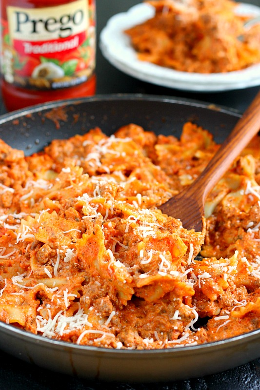 skillet lasagna garnished with cheese
