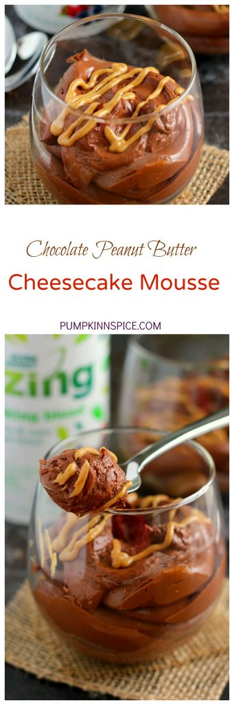 Filled with a chocolate cheesecake batter, swirled with creamy peanut butter and sweetened with Zing™ Baking Blend, this Chocolate Peanut Butter Cheesecake Mousse is the perfect lightened up dessert. With just five ingredients and minimal prep work, this easy mousse is a delicious, low calorie dessert!