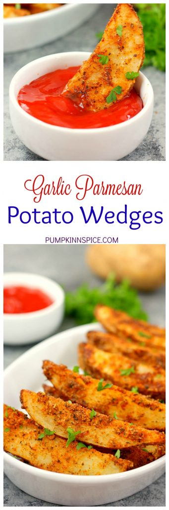 These Baked Garlic Parmesan Potato Wedges are crispy, seasoned with zesty spices and Parmesan, and roasted to perfection. Made with simple ingredients and ready in no time, you can skip the fast food restaurant and make your own healthier fries!