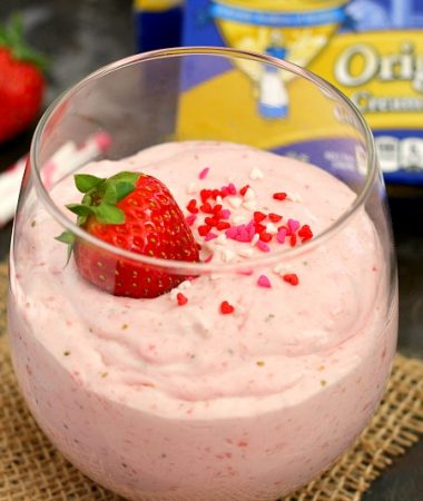 This Strawberry Cheesecake Mousse is light, creamy, and bursting with flavor. It's an easy dessert that will impress your Valentine's sweetheart!
