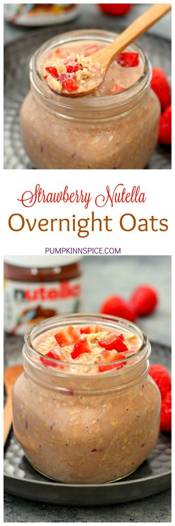 These Strawberry Nutella Overnight Oats are a delicious way to start your morning! Filled with creamy Greek Yogurt, fresh strawberries and a swirl of Nutella, these protein-packed oats are irresistibly sweet and secretly good for you!