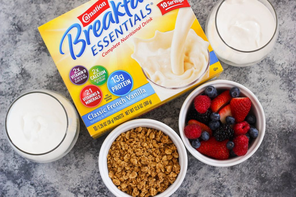 Packed with creamy yogurt, fresh berries, granola and honey, this Berry Honey Yogurt Parfait is a delicious way to start your mornings off right. By sprinkling the parfait with Carnation Breakfast Essentials® Powder, you can feel good packing your breakfast with nutritious ingredients!