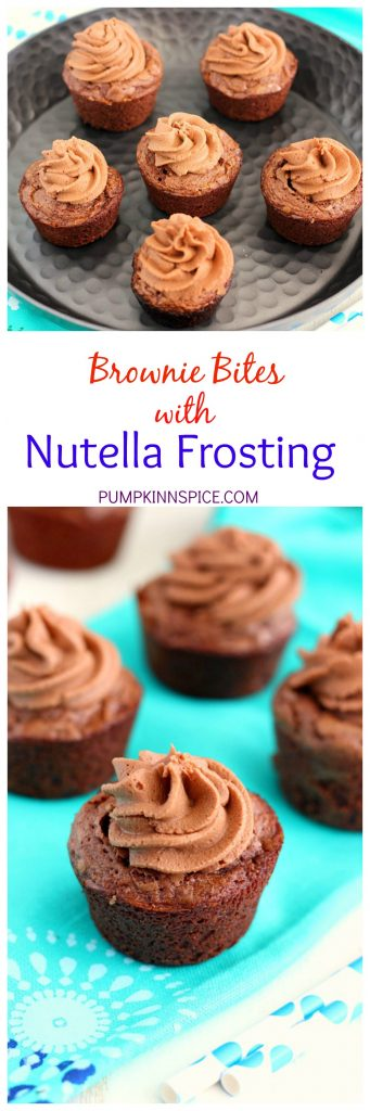 These Brownie Bites with Nutella Frosting are thick, fudgy, and chewy. Topped with a creamy Nutella frosting and made in bite-sized form, these make the ultimate treat!