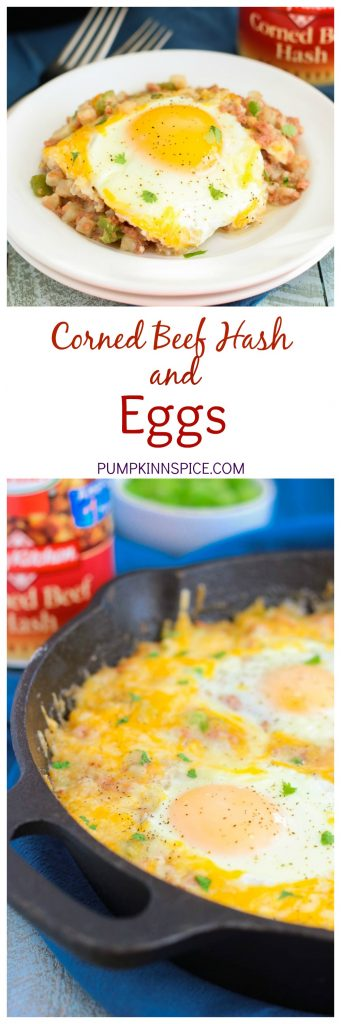 This Corned Beef Hash and Eggs is filled with tender potatoes, chunks of corned beef, green peppers, and spices. It's topped with eggs and a sprinkling of cheese, and then baked to perfection. If you're looking for a zesty breakfast or brunch option, then you'll love this flavorful skillet!