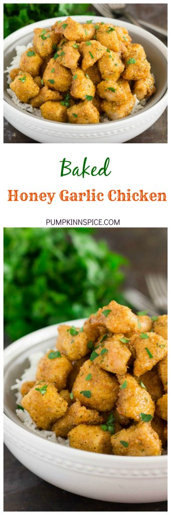 This Baked Honey Garlic Chicken is an easy meal that's ready in just 30 minutes. Tender chunks of chicken are coated in a zesty seasoning, baked until golden, and then tossed with a honey garlic sauce. Perfect for busy weeknights, this chicken will be the hit of your dinner table!