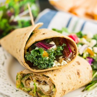 Filled with tender chicken, a mixture of beets and greens, and creamy hummus, this Chicken and Beet Hummus Wrap makes a deliciously fresh meal that's ready in no time. It's the perfect, protein-packed dish for when you want something light and healthy!