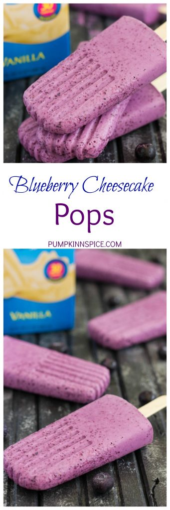 These Blueberry Cheesecake Pops taste like your favorite baked good, in frozen form. Filled with a cream cheese mixture that's studded with blueberries, these pops take just minutes to make and are perfect for cooling off with on a hot, summer day!