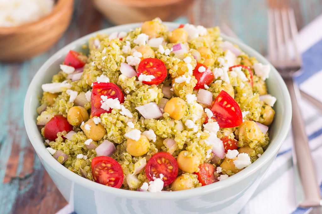 Pesto Salad is filled with chickpeas, hearty quinoa, cherry tomatoes ...