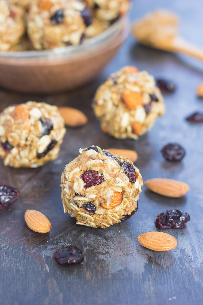 These Blueberry Almond Butter Energy Bites are packed with healthier ingredients to make an easy, on-the-go breakfast or snack. Filled with hearty oats, dried blueberries, chia seeds, honey, and almond butter, these bites take just minutes to make and are full of flavor!