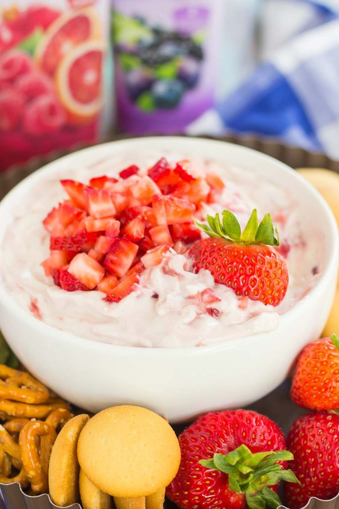 This no-bake, Greek Yogurt Strawberry Cheesecake Dip tastes just like your favorite cheesecake, in healthier form. With just five ingredients and hardly any prep time, you can have this easy dessert ready in less than 10 minutes. It's perfect to serve with some fresh fruit or pretzels, and makes a tasty dish for your summer parties or just for when you want something sweet!