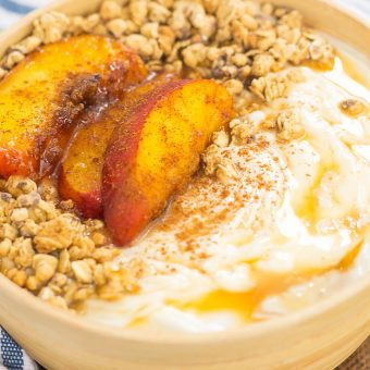 Grilled Peach Caramel Yogurt Bowl