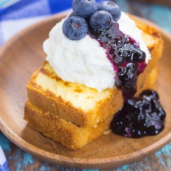 Grilled Pound Cake with Mascarpone Cream and Blueberries