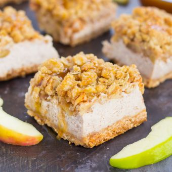 These Caramel Apple Cheesecake Bars are filled with an apple pie cheesecake batter and then sprinkled with tender apples, a sweet streusel topping, and a drizzle of caramel. Simple to prepare and even better to eat, this dessert captures the delicious flavors of fall!