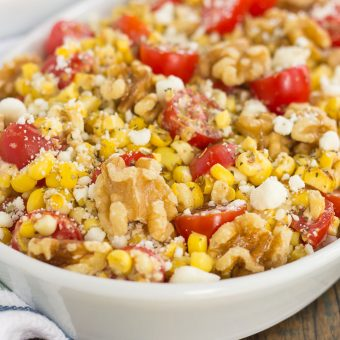 Grilled Garlic Herb Corn with Tomatoes and Walnuts
