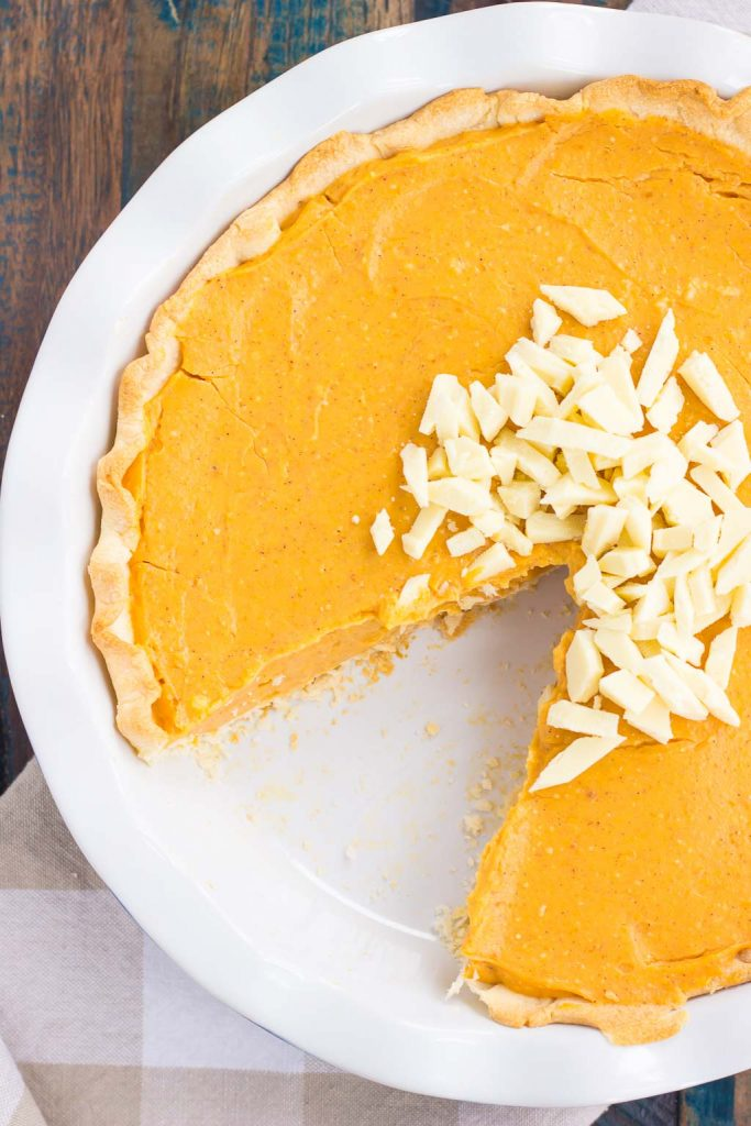 This Pumpkin White Chocolate Pie is filled with a creamy mixture of pumpkin and white chocolate pudding that's swirled to perfection. It's smooth, silky, and an easy, no-bake dessert!