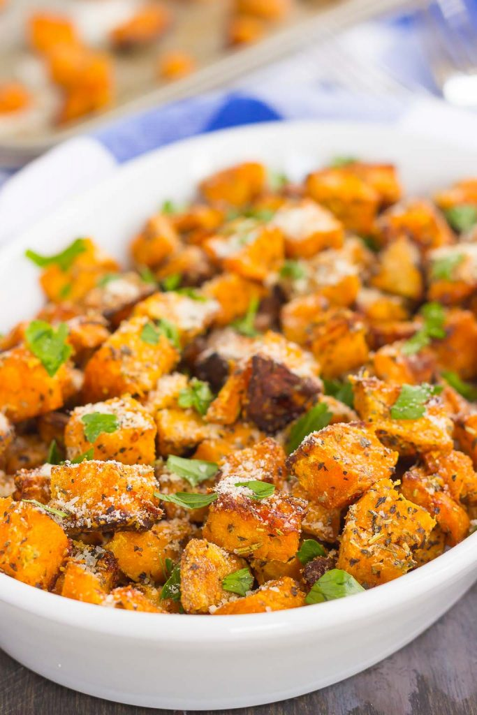 These Roasted Parmesan Herb Sweet Potatoes are seasoned with a blend ...